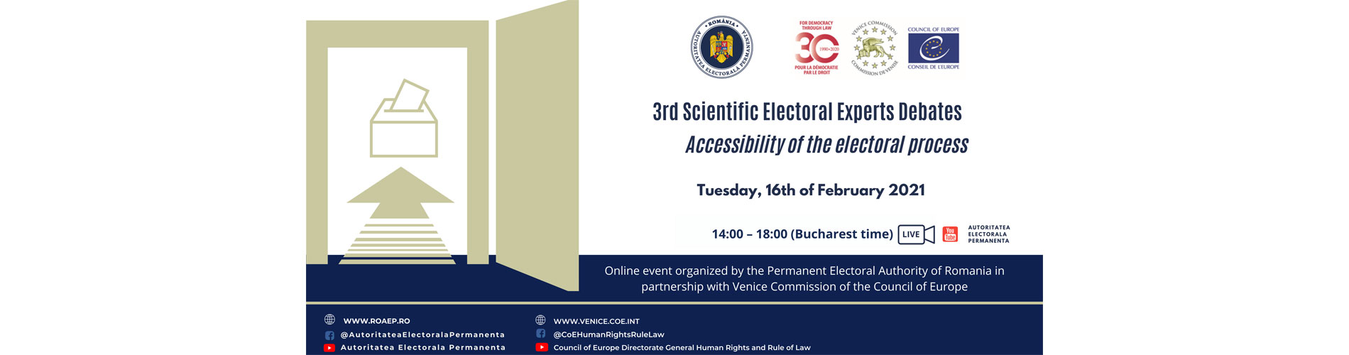 3rd Scientific Electoral Experts Debates with the topic Accessibility of the electoral process – PEA of Romania and the Venice Commission of the Council of Europe